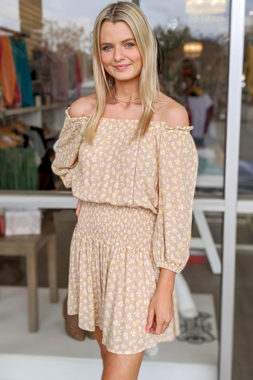 Cheerful Beginnings Off Shoulder Dress - Taupe/Lemon