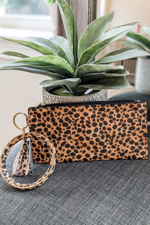 Cheetah Print Pouch Keychain - Brown