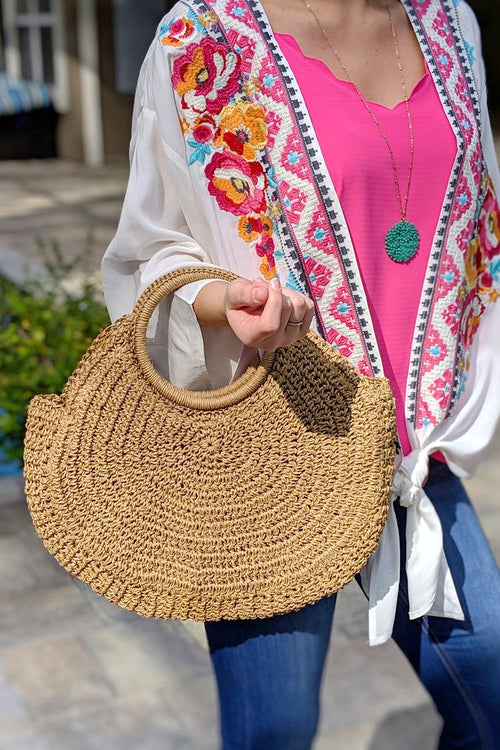Circle Handle Straw Tote