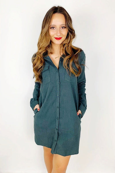 Classic in Corduroy Dress - Hunter Green