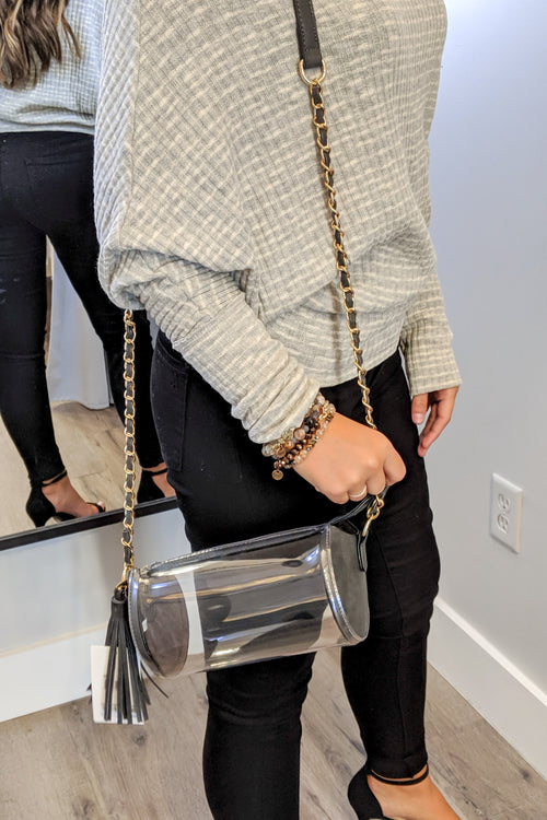 Clear Cylinder Crossbody Bag - Black