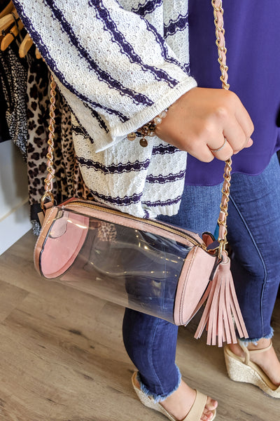 Clear Cylinder Crossbody Bag - Pink