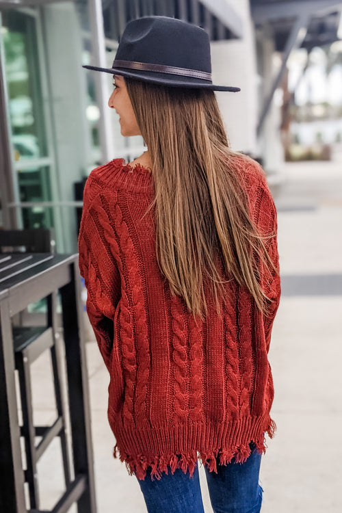 Close & Cozy Frayed Hem Sweater - Rust