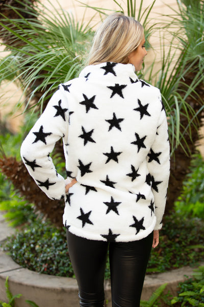 Cloudy Nights Star Print Pullover Sweater - Ivory