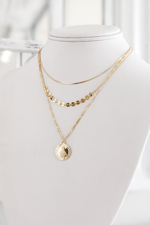 Coin & Layer Chain Choker - Gold