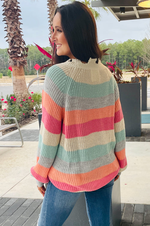 Colorful Dreams Striped Chunky Knit Sweater - Multi
