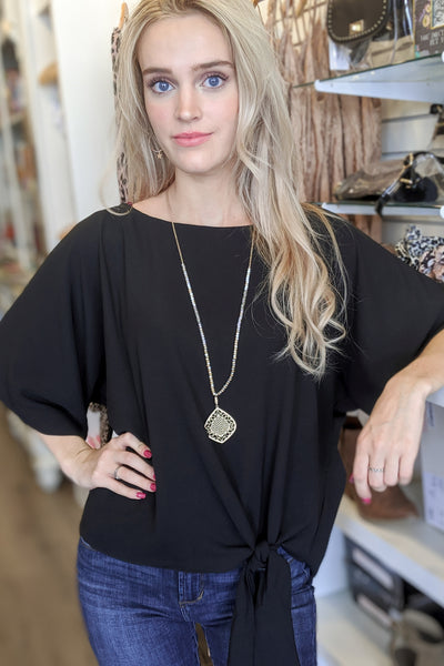 Connected to You Kimono Sleeve Top - Black
