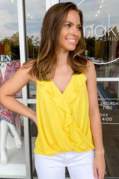 Counting On You Surplice Ruffle Top - Pineapple