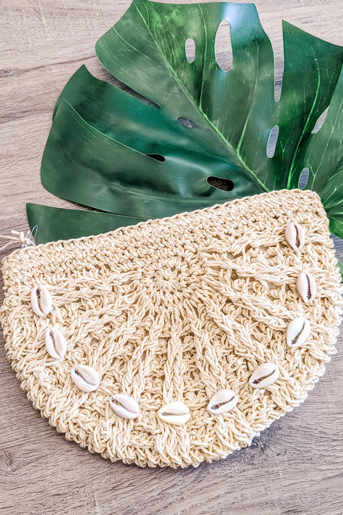 Cowrie Shell Half Moon Straw Clutch - Ivory