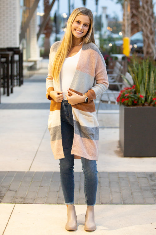 Cozier Dreams Color Block Cardigan - H. Gray/Camel