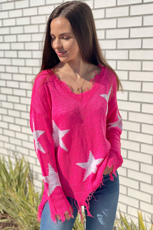 Cozy Perfection Star Print Knit Distressed Sweater - Hot Pink
