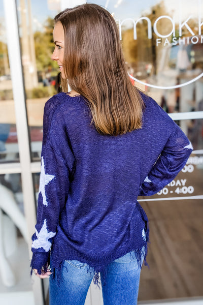 Cozy Perfection Star Print Knit Distressed Sweater - Navy