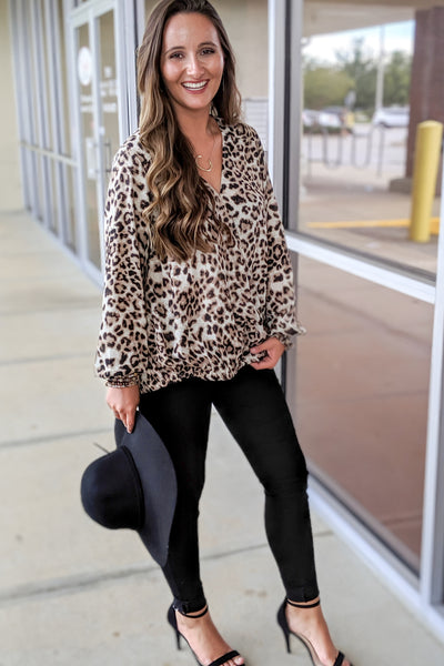 Crazy for You Leopard Print Surplice Top - Brown
