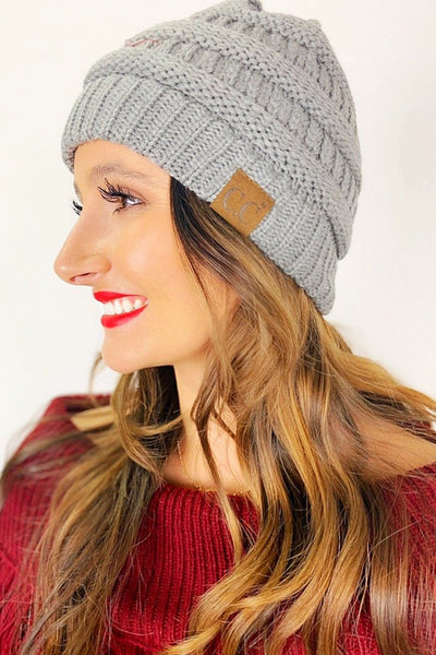 Crochet Knitted Beanie - Gray