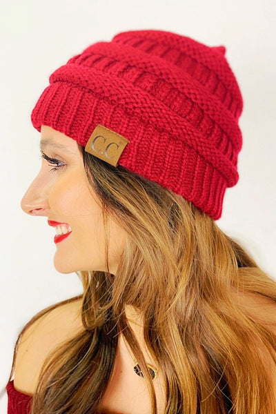 Crochet Knitted Beanie - Burgundy