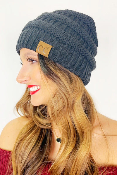 Crochet Knitted Beanie - Dark Gray
