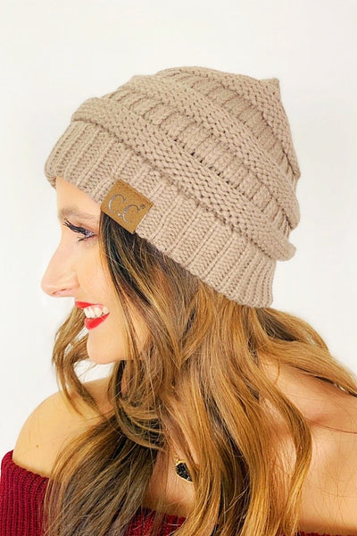 Crochet Knitted Beanie - Taupe