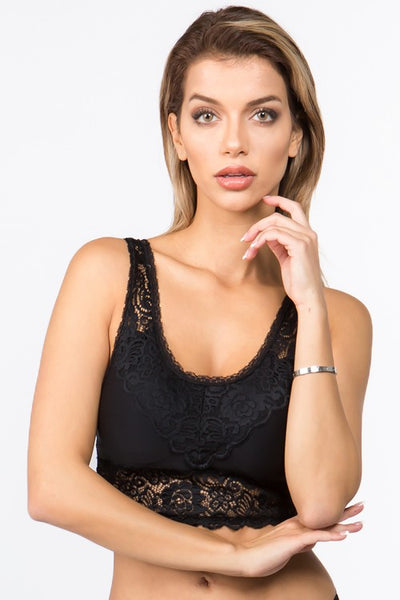 Crochet Lace Accent Bralette - Black