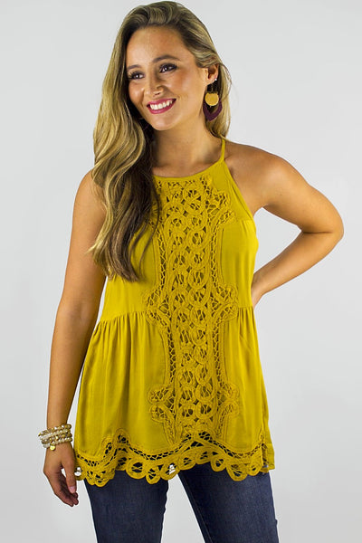 Crocheted Nights Top - Mustard