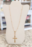 Cross Pendant Bead Necklace - Cream