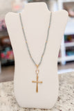 Cross Pendant Bead Necklace - Gray