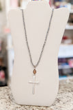 Cross Pendant Bead Necklace - Silver