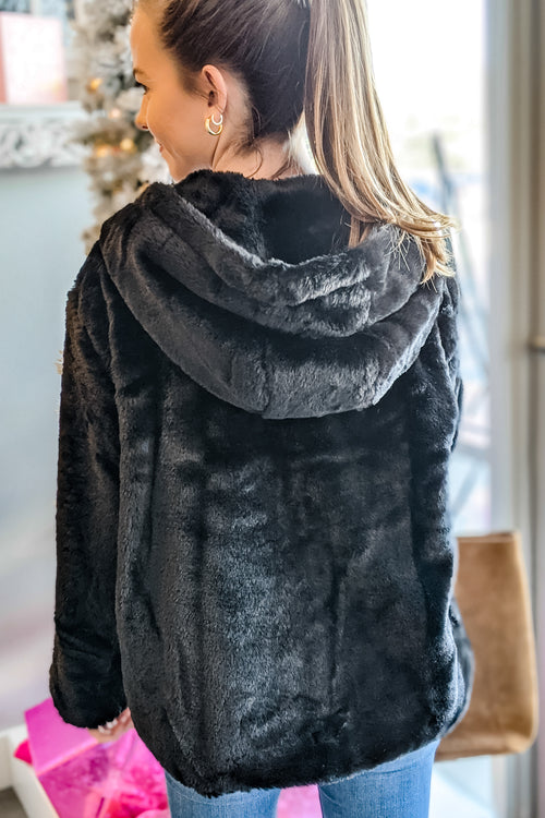 Daydreams of Love Faux Fur Hooded Jacket - Black