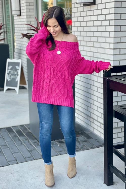 Deserving of Love Off Shoulder Cable Knit Sweater - Fuchsia