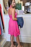 Detailed Darling Slip Dress - Neon Fuchsia