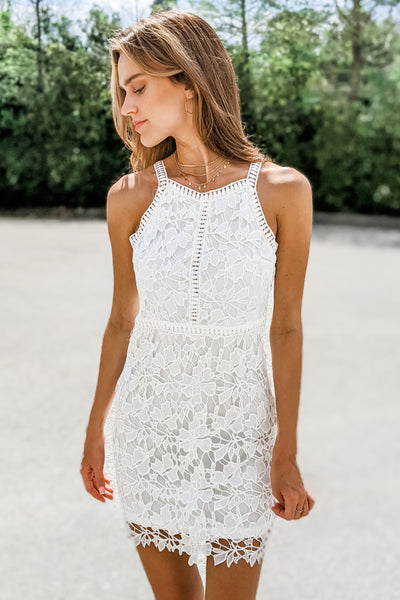 Divine Love Floral Lace Bodycon Dress - Off White