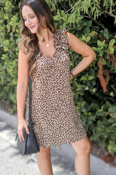 Do It for the Frill Leopard Print Dress - Brown