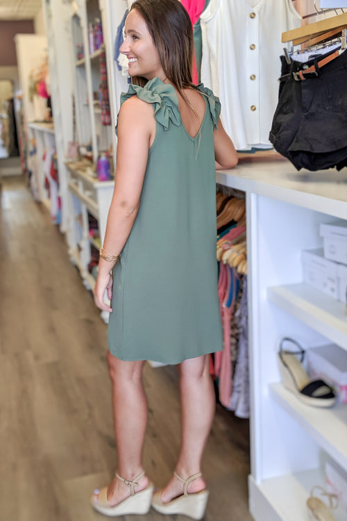 Do It for the Frill Sleeveless Dress - Olive