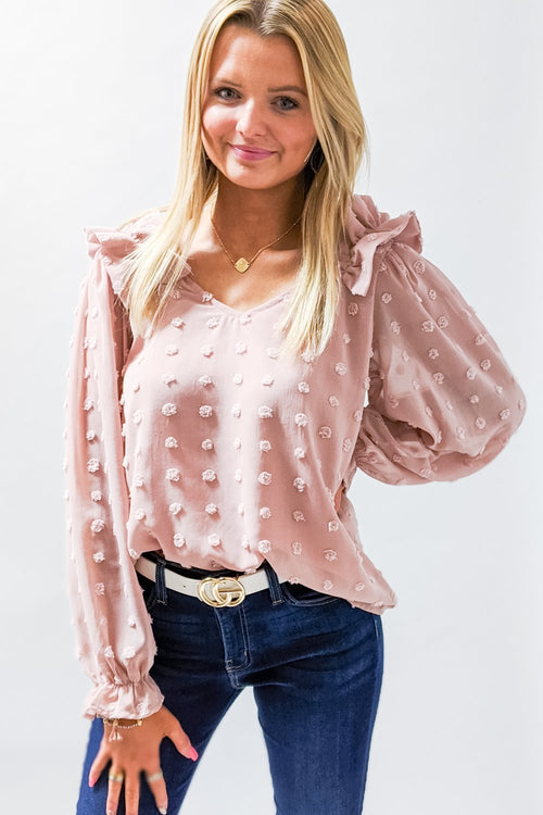 Do It for the Frill Swiss Dot Top - Blush