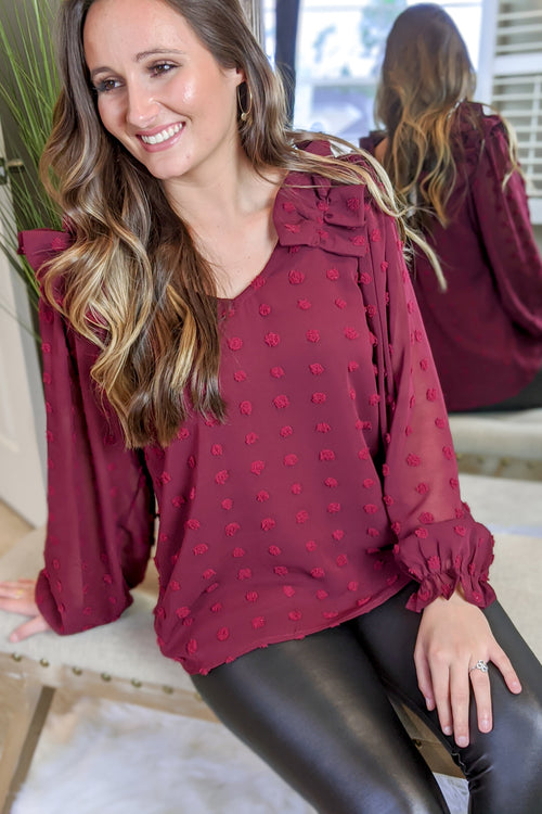 Do It for the Frill Swiss Dot Top - Burgundy