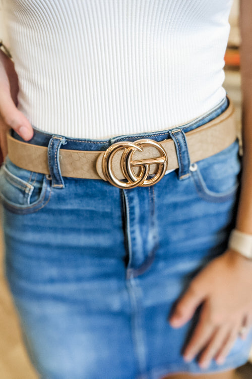 Double Metal Ring Faux Leather Belt - Taupe Snake