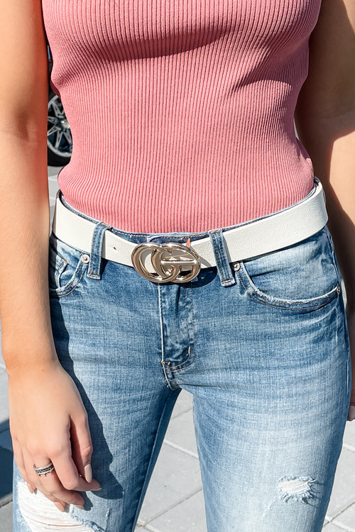 Double Metal Ring Faux Leather Belt - White