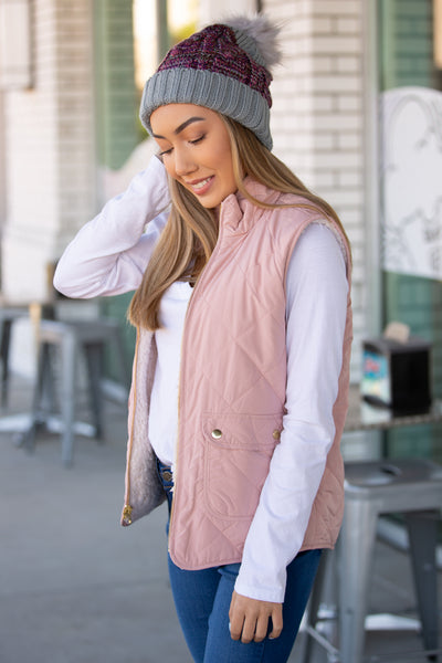 Double Trouble Reversible Quilted Padding Vest - Blush