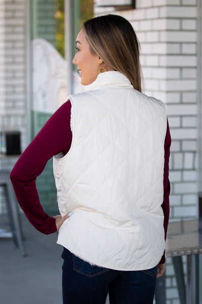 Double Trouble Reversible Quilted Padding Vest - Ivory