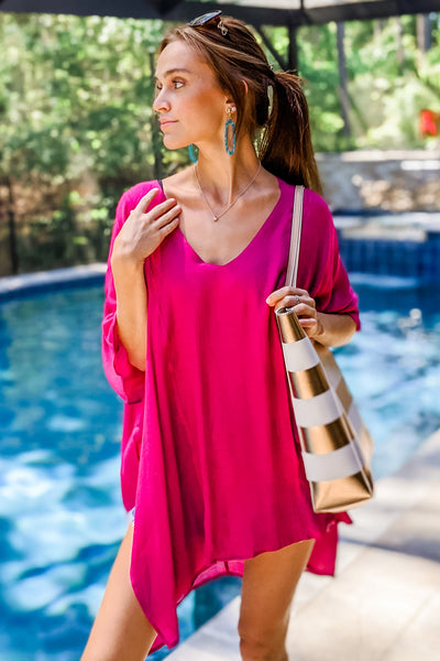Drawn to the Ocean V-Neck Cover-Up - Berry