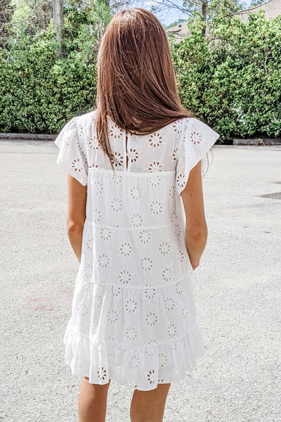 Dream Big Eyelet Lace Tiered Dress - Off White