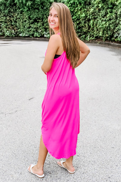 Dreaming of Summer Sleeveless Midi Dress - Fuchsia