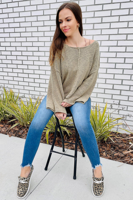 Finding Comfort Distressed Chenille Sweater - Cream