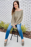 Dreams Like This Scoop Neck Long Sleeve Sweater - Lt. Olive
