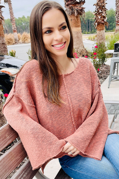 Dreams Like This Scoop Neck Long Sleeve Sweater - Terra Cotta