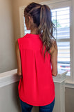 Dressed to Impress Collared Surplice Top - Poppy Red