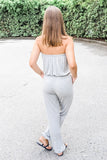 Easy Comforts Solid Strapless Jumpsuit - Heather Gray