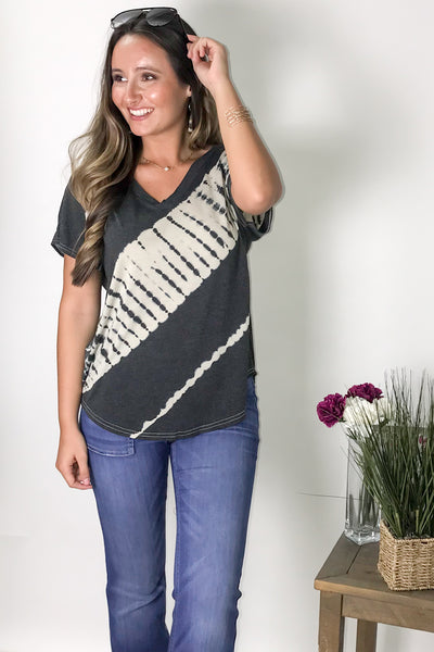 Easy Comforts Tie-Dye Top - Charcoal