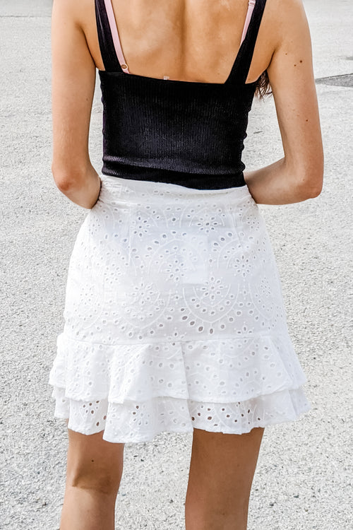Emery Eyelet Ruffle Trim Mini Skirt - Off White