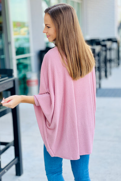 Endless Memories Open Front Ribbed Cardigan - Mauve