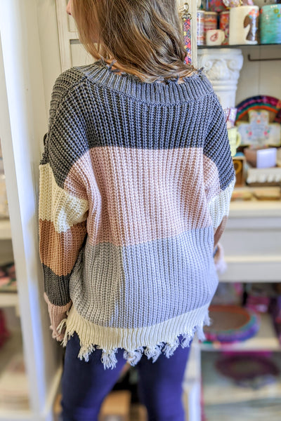 Endless Dreams Color Block Sweater - Pastel Combo